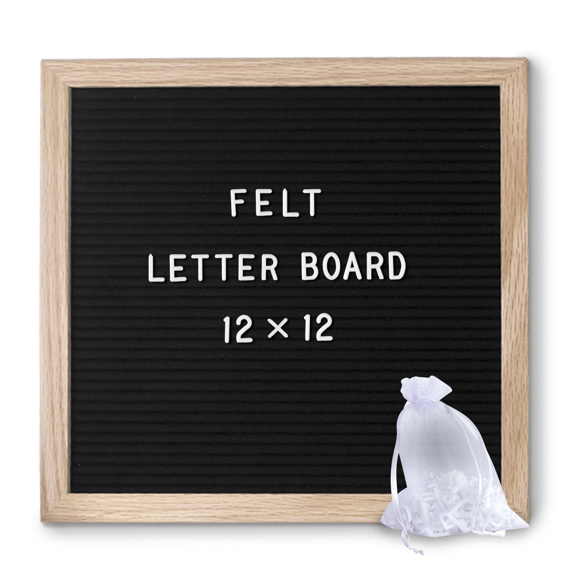 Felt Letter Board Black, Modern, 12x12 - Picture Stand and Wall Hook, Oak Wood Frame, Bonus Sheer Bag, 340 Letters, Special Characters, Emojis, Symbols - Perfect for Your Home, Office, Shops