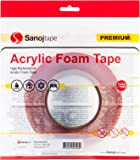 Sanojtape Heavy Duty Double Sided Tape Clear 12mm x 10m | Strong Mounting Tape | Ideal Acrylic Foam Tape for Automotive, LED, Waterproof | Transparent 1mm Thickness