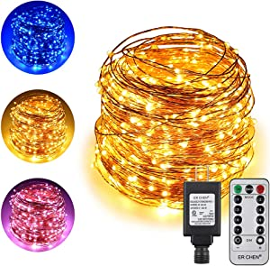 ErChen Dual-Color LED String Lights, 165 FT 500 LEDs Plug in Copper Wire Color Changing 8 Modes Dimmable Fairy Lights with Remote Timer for Indoor Outdoor Christmas (Blue/Warm White)
