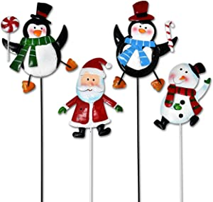Gift Boutique Christmas Yard Garden Stakes Decor, Set of 4 Cheerful Characters 2 Penguins Snowman and Santa Claus Metal Signs for Home Outdoor Lawn Pathway Walkway Driveway Holiday Decorations