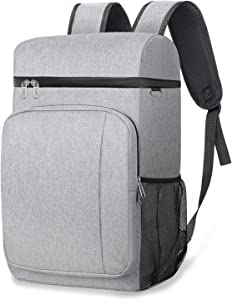 49 Cans Insulated Cooler Backpack, Leakproof Spacious Lightweight Soft Cooler Bag Backpack Cooler with Double Deck for Men Women to Work Beach Picnic Travel Trips, Grey