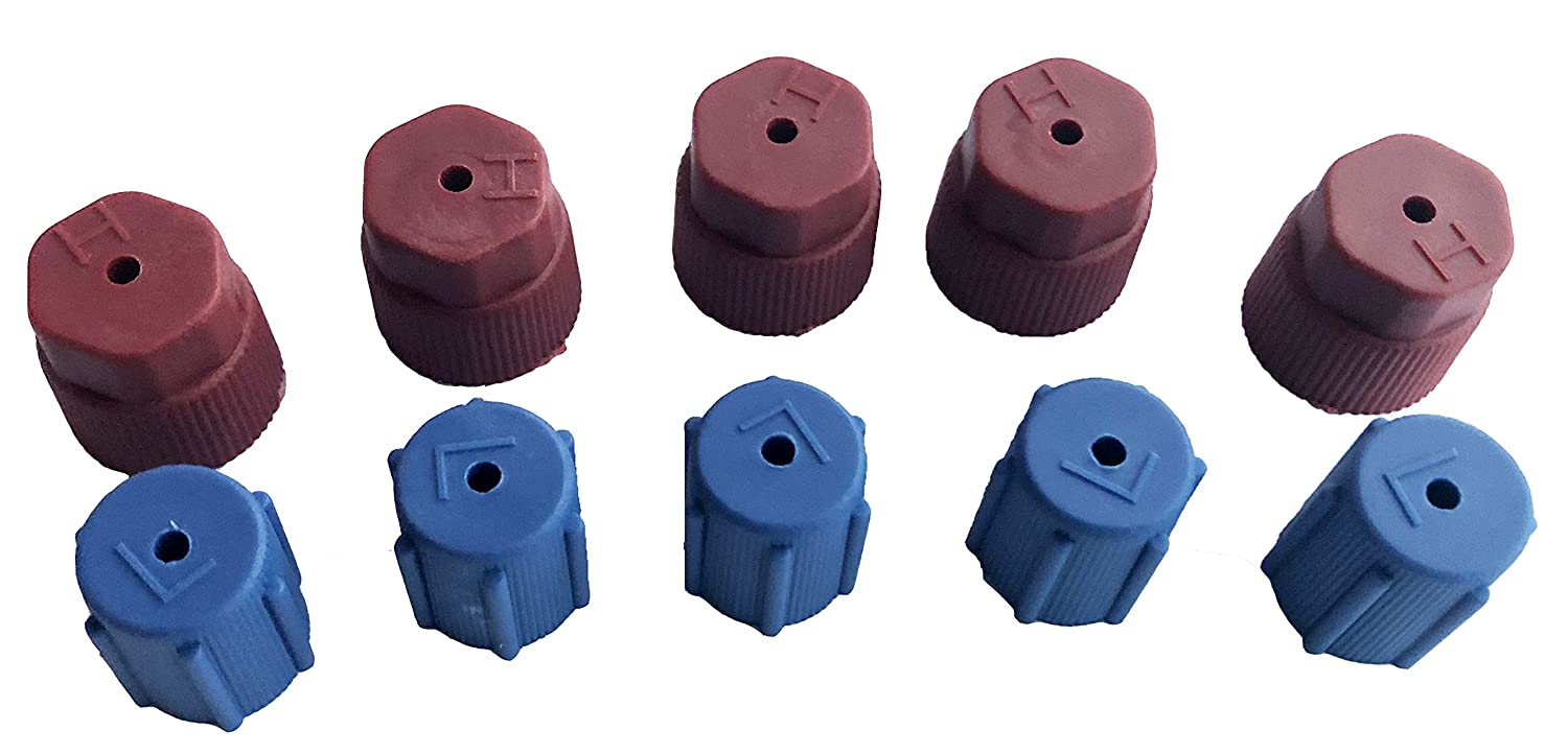GooMeng4S 10Pcs//Set R134a 5 Blue Low 13mm /& 5 Red High 16mm Air Conditioning Service AC System Charging Port Caps 5 Blue Low /& 5Red High