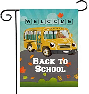 Deloky Welcome Back to School Garden Flag -Double-Sided Yellow School Bus Decorative Yard Burlap Flag,Shool Bus Garden Banner for Indoor Outdoor Decoration (1218inch)