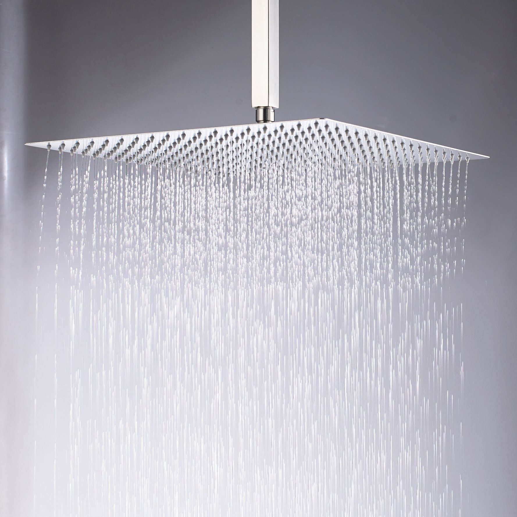 Rozin Brushed Nickel 16-inch Rainfall Shower Head Square Bath Top Spray