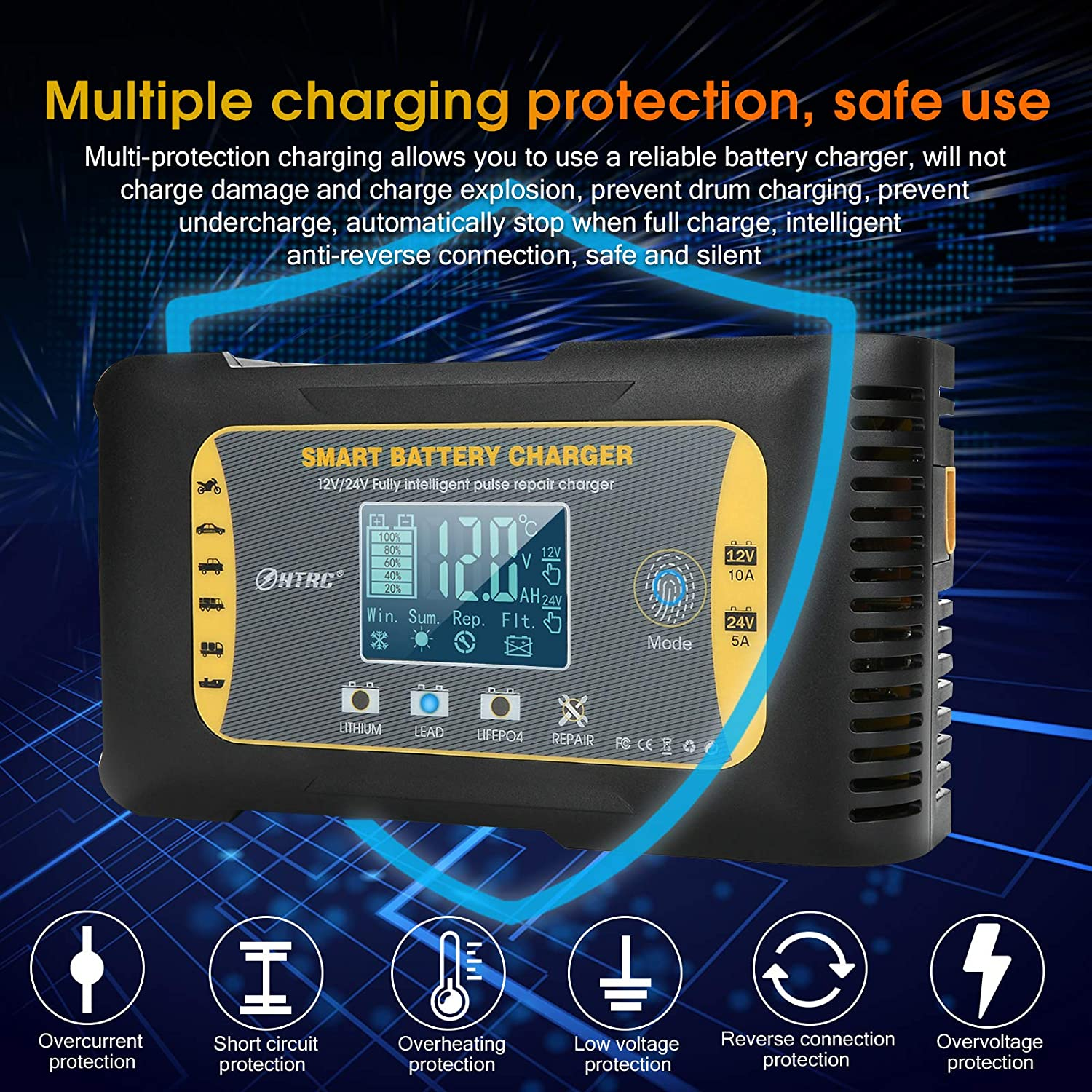 HTRC Car Battery Charger 12V//24V 10Amp 7 Stages Lithium Lead-Acid LiFePO4 Compatible Automotive Smart Battery Charger with LCD Screen Maintainer//Pulse Repair Charger for Car Motorcycle and More