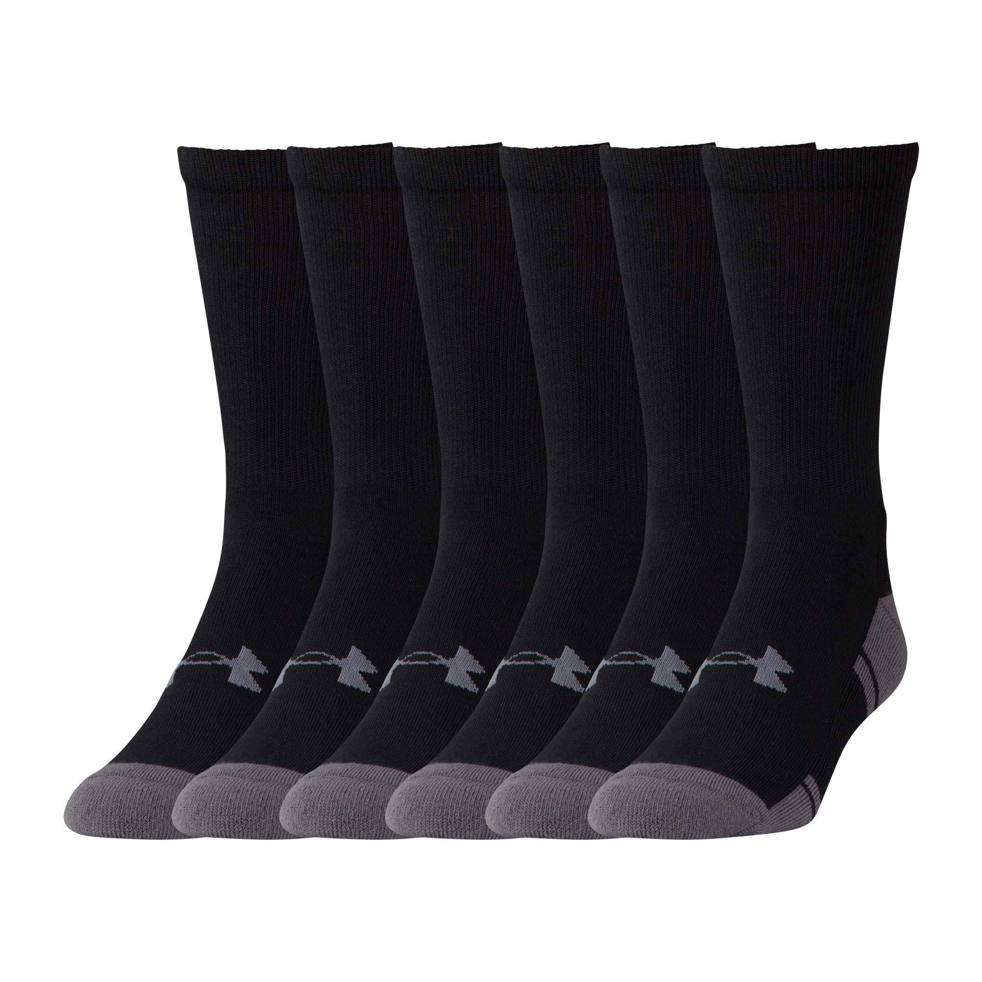 Under Armour Resistor 3.0 Crew Athletic Socks (6 Pack), Black/Graphite, Medium by Under Armour