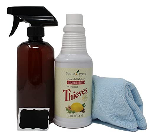 Thieves Household Cleaner Kit – includes Young Living Thieves Cleaner 14.4 fl.oz, Plastic Amber Spray Bottle 16oz (PET #1 – BPA Free) w/ reusable Chalk Label, and Microfiber cloth.