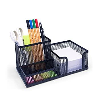 Captivating Sturdy Office Desk Organizer U2013 Stylish Designer Storage Caddy Set U2013 Robust  Black Mesh Sorter U2013