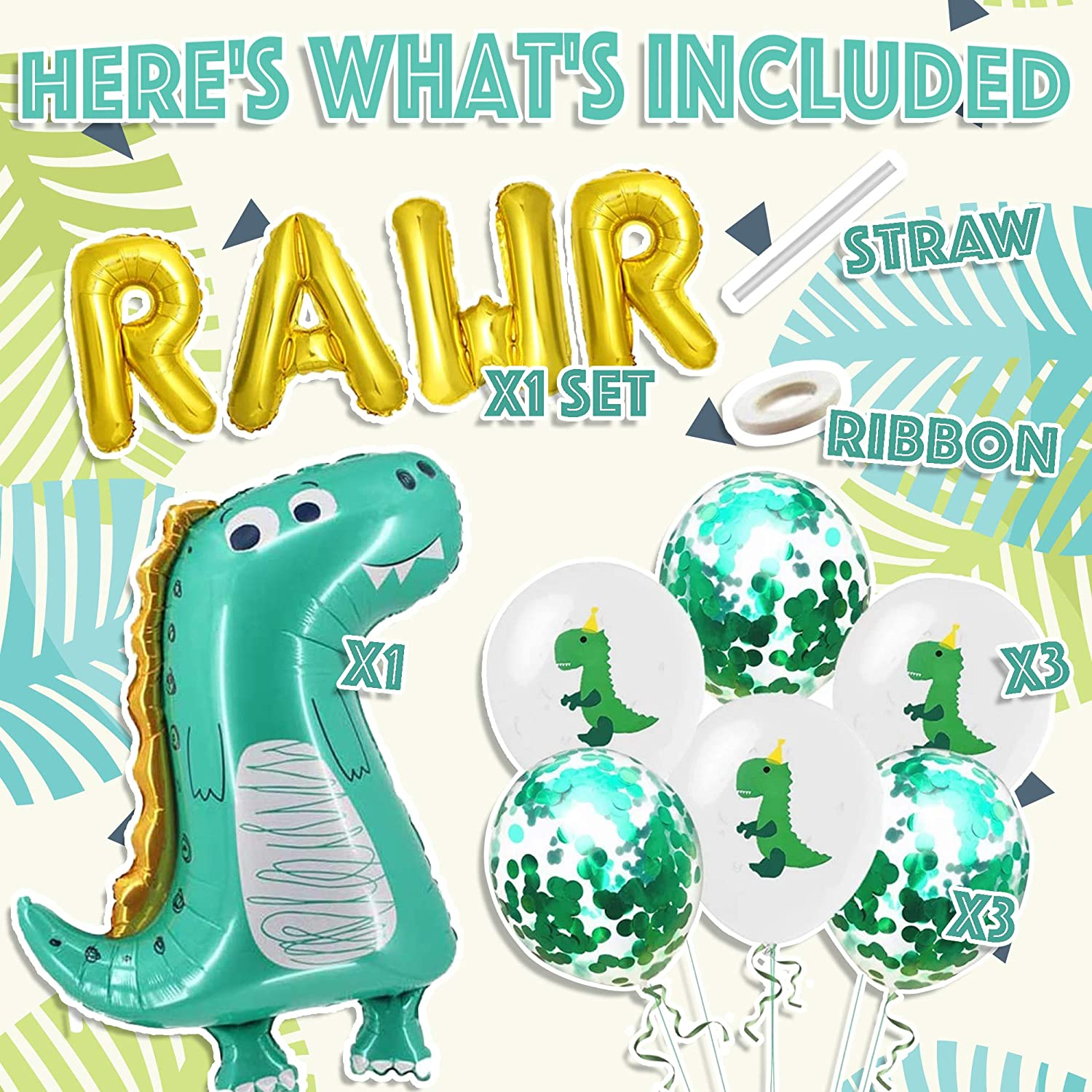 5 confetti balloons in blue and green Perfect for any dino party celebration. Dinosaur Confetti Balloons