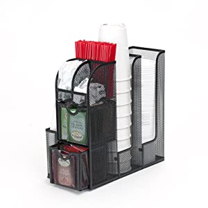Mind Reader Condiment Caddy Organizer- Black Metal Mesh