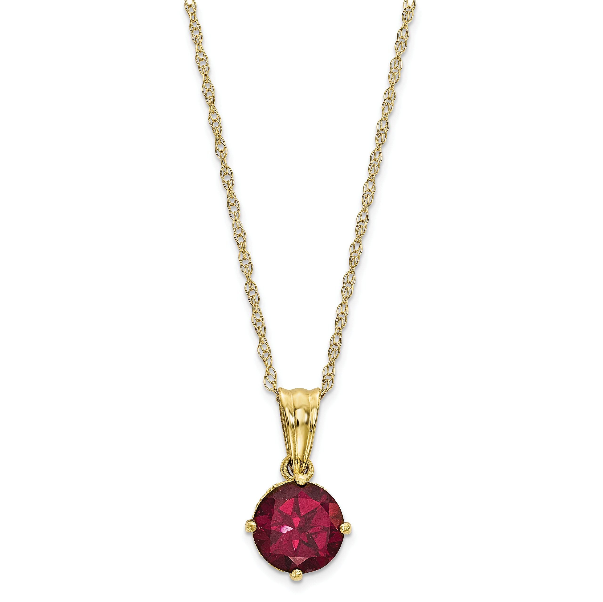 ICE CARATS 10k Yellow Gold Tiara Collection Diamond Lab Created Red Ruby Chain Necklace Set Gemstone Fine Jewelry Gift Set For Women Heart