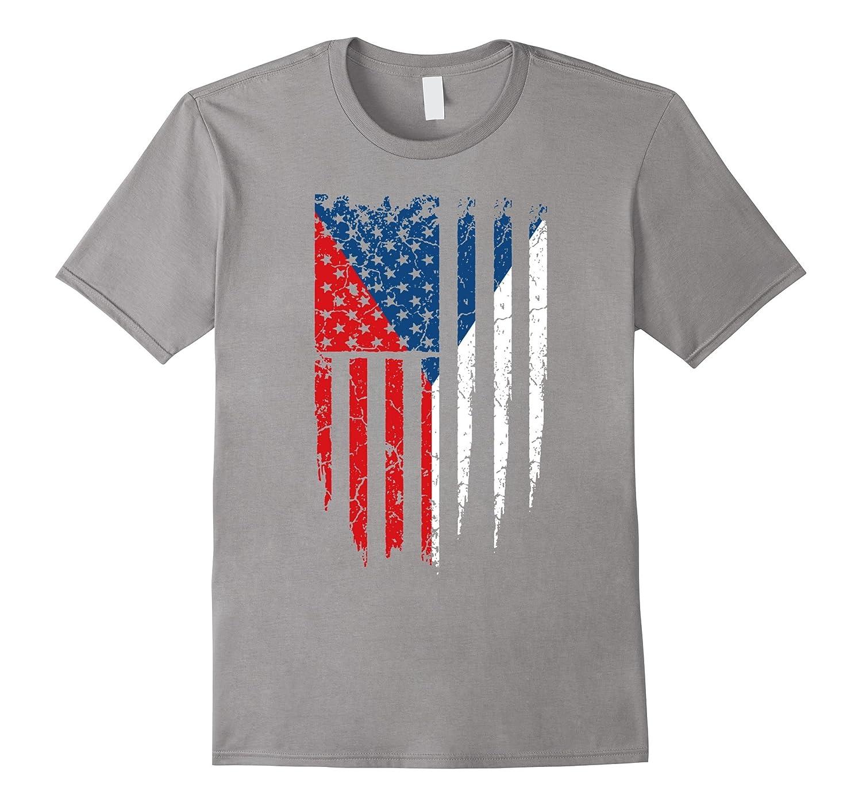 Czech American Czech Republic & America Flag T-Shirt-Art