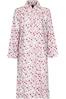 Ladies Long sleeve Warm Winter 100% Brushed Cotton Winceyette Nightdress Pink or Blue Floral Pattern on Cream 12-14, 16-18, 20-22, 24-26