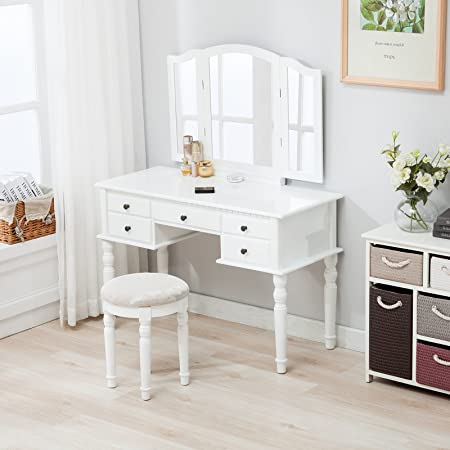 Mecor Nurxiovo Vanity Table Makeup Table White Dressing Tables Mirror Stool    Tri   Folding Mirror