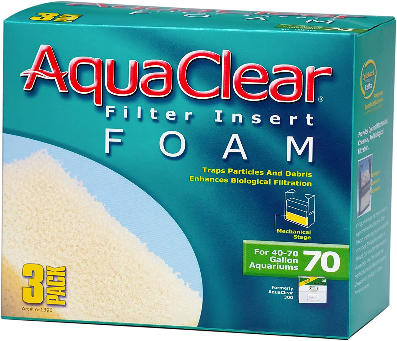 AquaClear 70 Foam Filter Inserts, Aquarium Filter Replacement Media, 3-Pack, A1396
