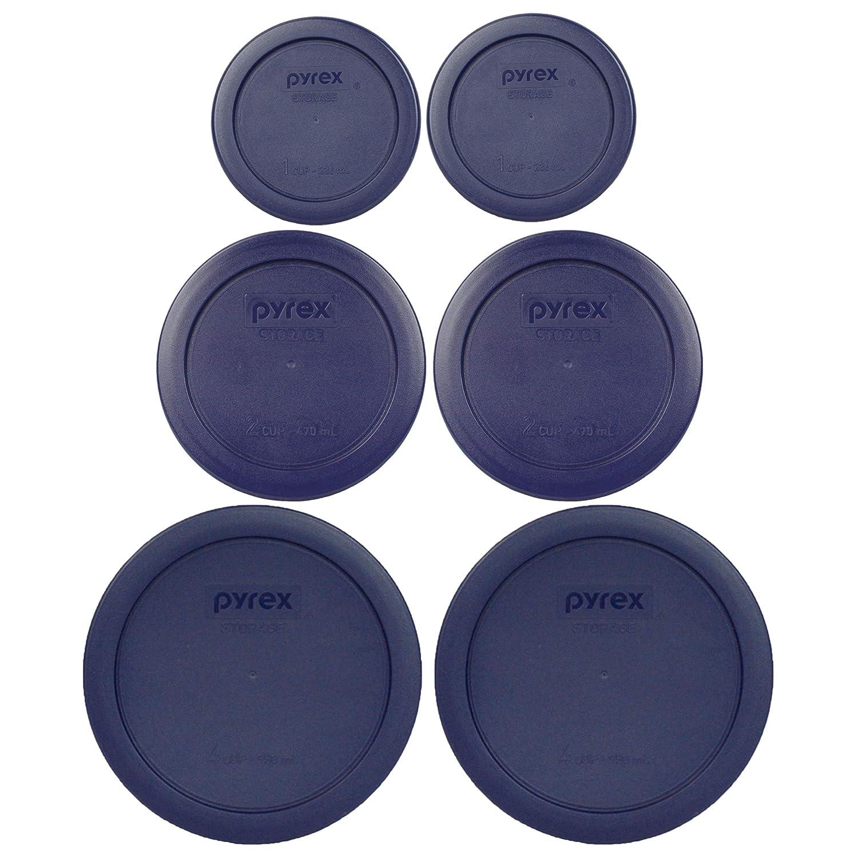 Pyrex (2) 7202-PC 1 Cup (2) 7200-PC 2 Cup (2) 7201-PC 4 Cup Blue Replacement Lids
