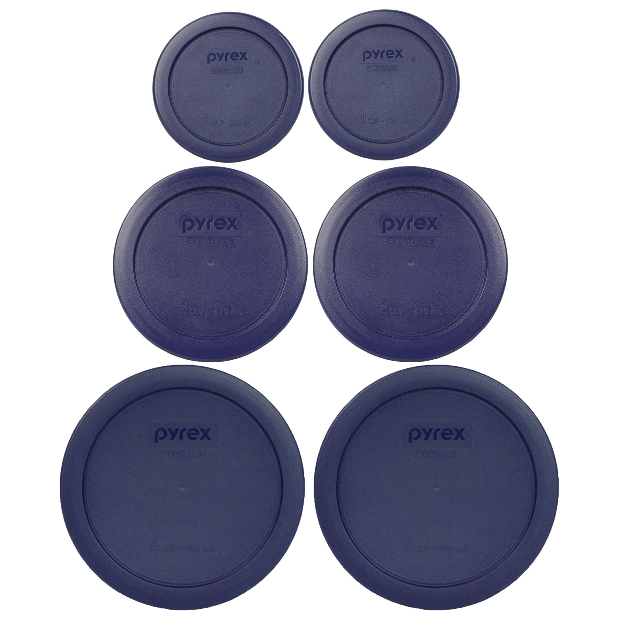 Pyrex (2) 7202-PC 1 Cup (2) 7200-PC 2 Cup (2) 7201-PC 4 Cup Blue Replacement Lids