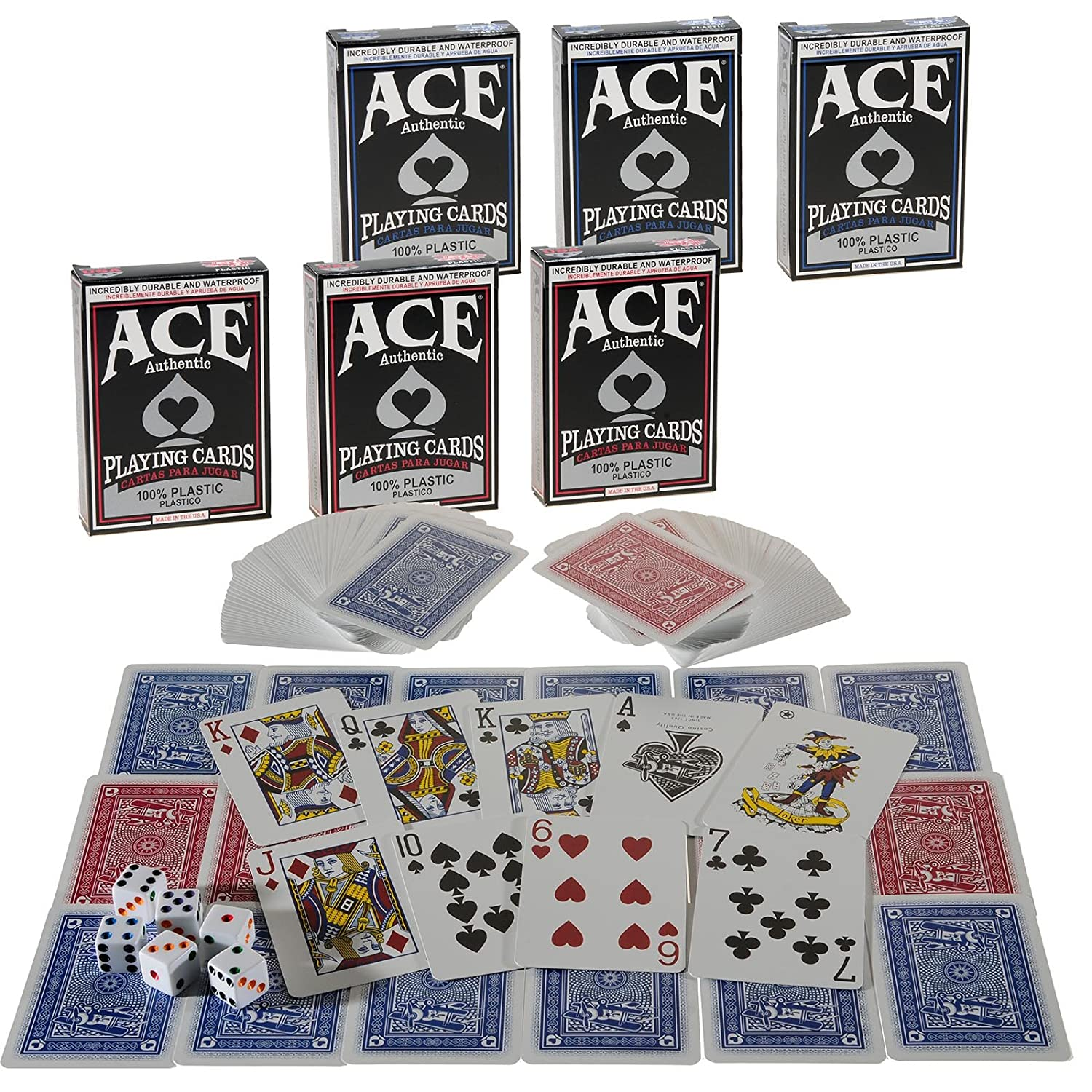 Ace 100% Plastic Playing Cards _ Bundle of 6 Decks _ Plus 6 Bonus Dice