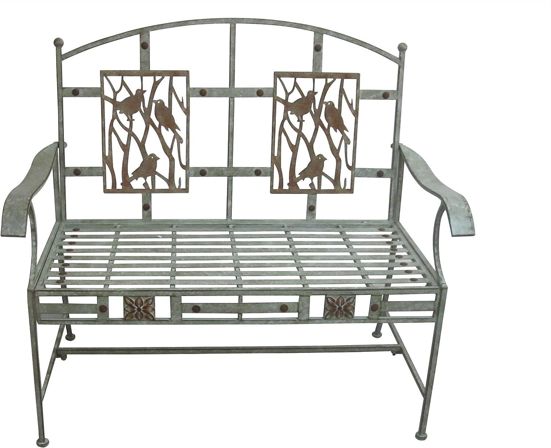 Alpine Artful Metal Garden Bench w//Bird Design 41 Inch Tall