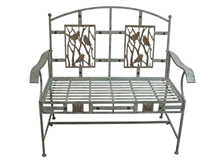 Alpine Artful Metal Garden Bench w Bird Design, 41 Inch Tall