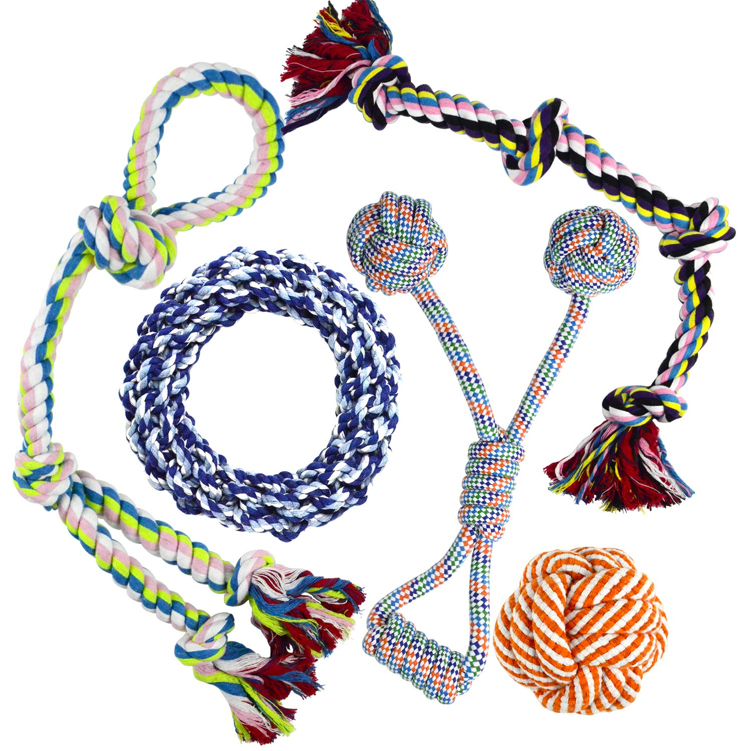 Whoobee Rope Dog Toy, Durable Dog Toys for Playtime and Teeth Cleaning, Cotton Tug of War Balls Interactive Toys for Medium to Large Dogs(Set of 5)