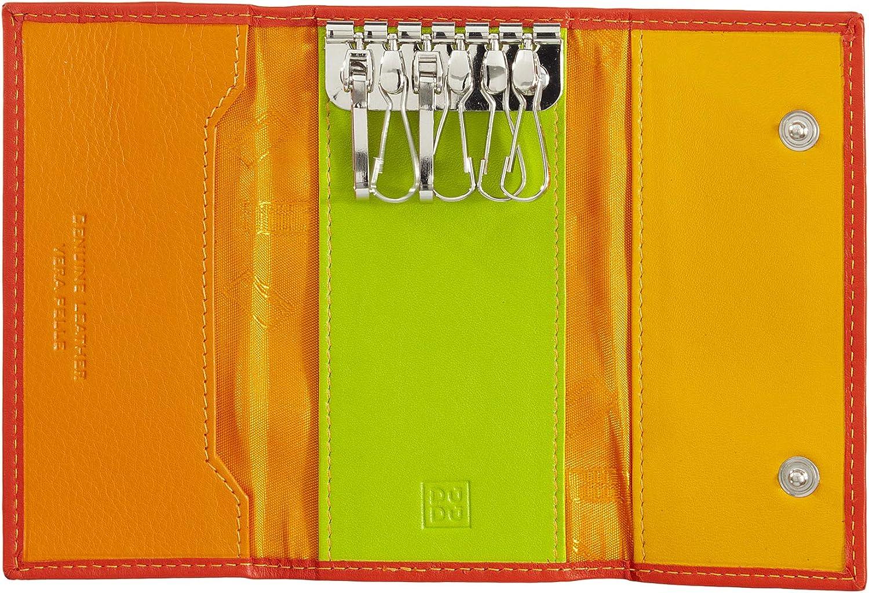 Llavero Clasico en Piel Multicolor con 6 Ganchos Firmado DUDU Rojo