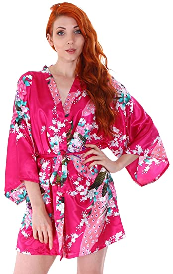 Simplicity Women s Peacock   Blossoms Printed Kimono Short Robe Sleepwear c765fa50a