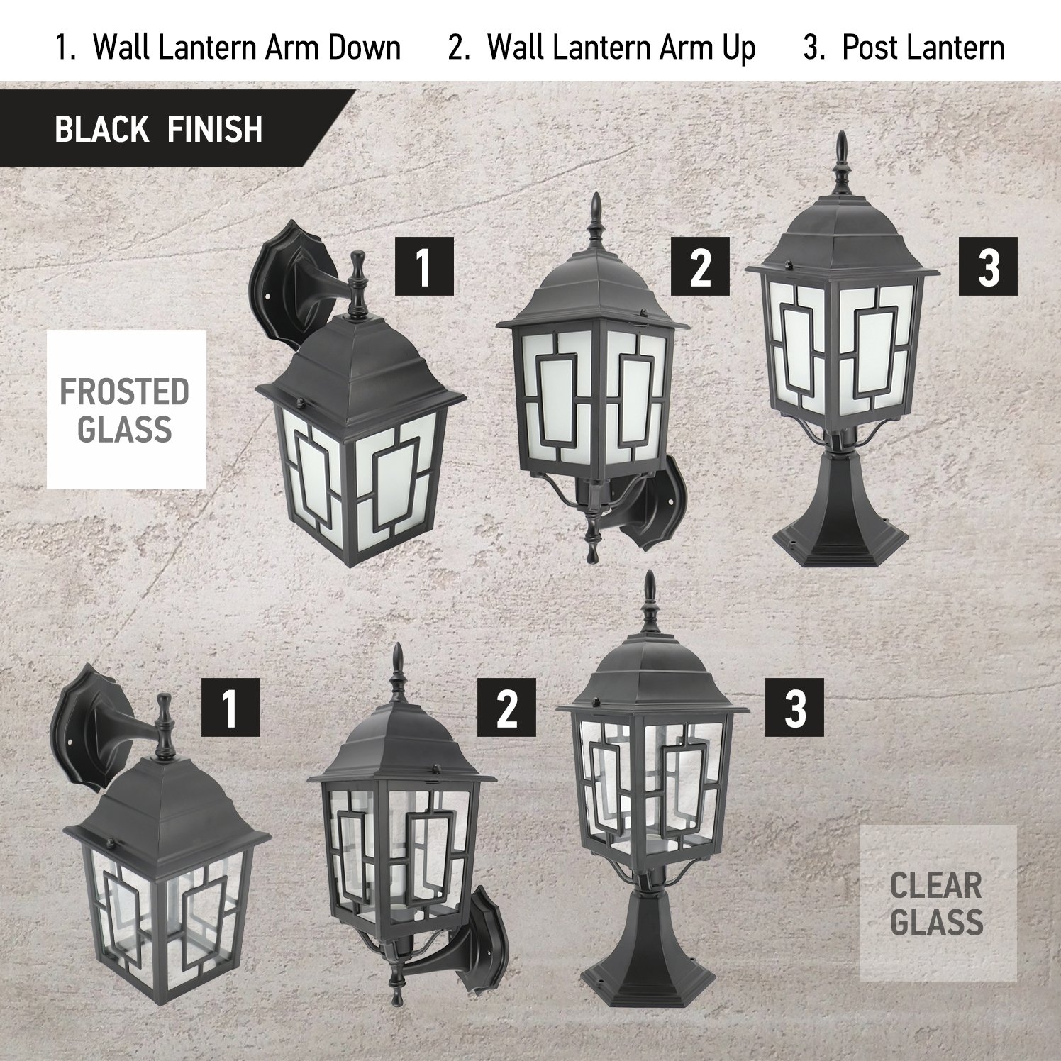 IN HOME 1-Light Outdoor Garden Post Lantern L05 Lighting Fixture, Traditional Post Lamp Patio with One E26 Base, Water-Proof, Black Cast Aluminum Housing, Frosted Glass Panels, (2 Pack) ETL Listed by IN HOME (Image #6)
