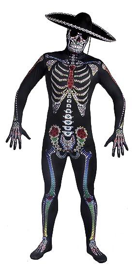 1c32753a014 DAY OF THE DEAD SUGAR SKULL SKELETON SKIN SUIT HALLOWEEN FANCY DRESS COSTUME  FOR MEN -