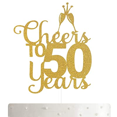 ALPHA K Cheers to 50 Years, 50th Birthday Cake Topper, 50th Anniversary Cake Topper, 50th Party Decoration with Premium Gold Glitter: Electronics