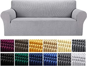 Yucoao Stretch Sofa Slipcovers Couch Covers(80''-95''), 1PC Spandex Oversized Sofa Cover Lattice Jacquard Furniture Cover,Washable Furniture Protector for Living Room,Children and Pets, Silver