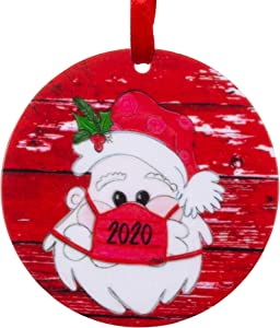 Joycuff 2020 Christmas Ornament, Funny Santa Mask Ornament Quarantine for Best Friends Sister Families Printed Holiday Pandemic Ornament