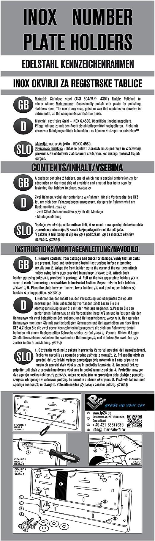 2Er-Pack Crystal Bling Kfz-Kennzeichenhalter xiaowang Auto Kennzeichenhalter Set Rahmenlos - Edelstahl-Kennzeichenhalter Mit Strassverzierung F/ür Die Meisten Autos