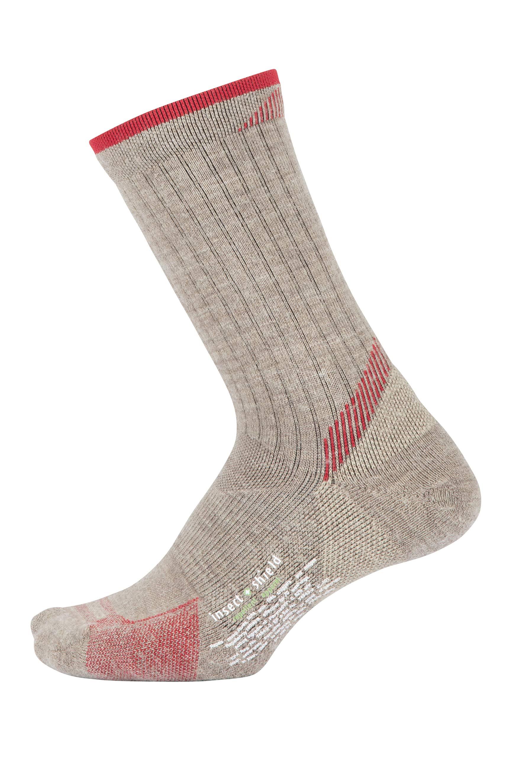 ExOfficio Women's BugsAway Solstice Canyon Crew Sock, Oatmeal Heather/Lollipop, Small/Medium by ExOfficio