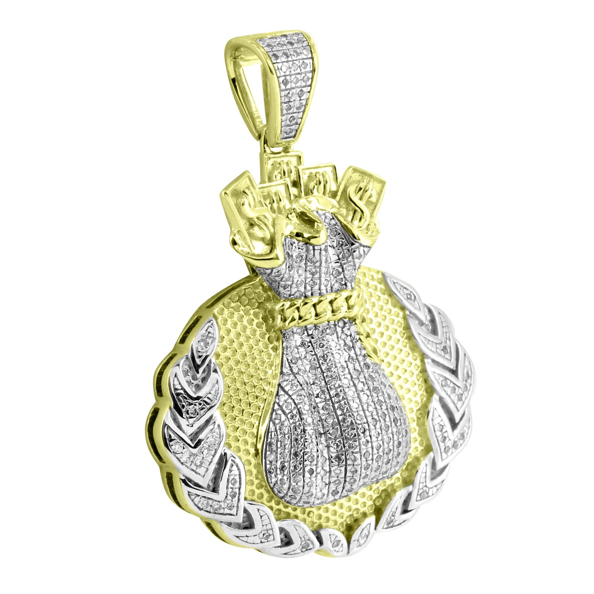 Money Bag Miami Cuban Design 10k Yellow Gold 0.40 Ct Diamond Pendant Unique Mens