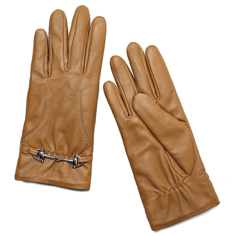aba2ffa6f108f9 YISEVEN Soft Damen Winter Leder Warm Driving Lammfell Farbige Handschuhe 100%  Pure: Amazon.de: Bekleidung