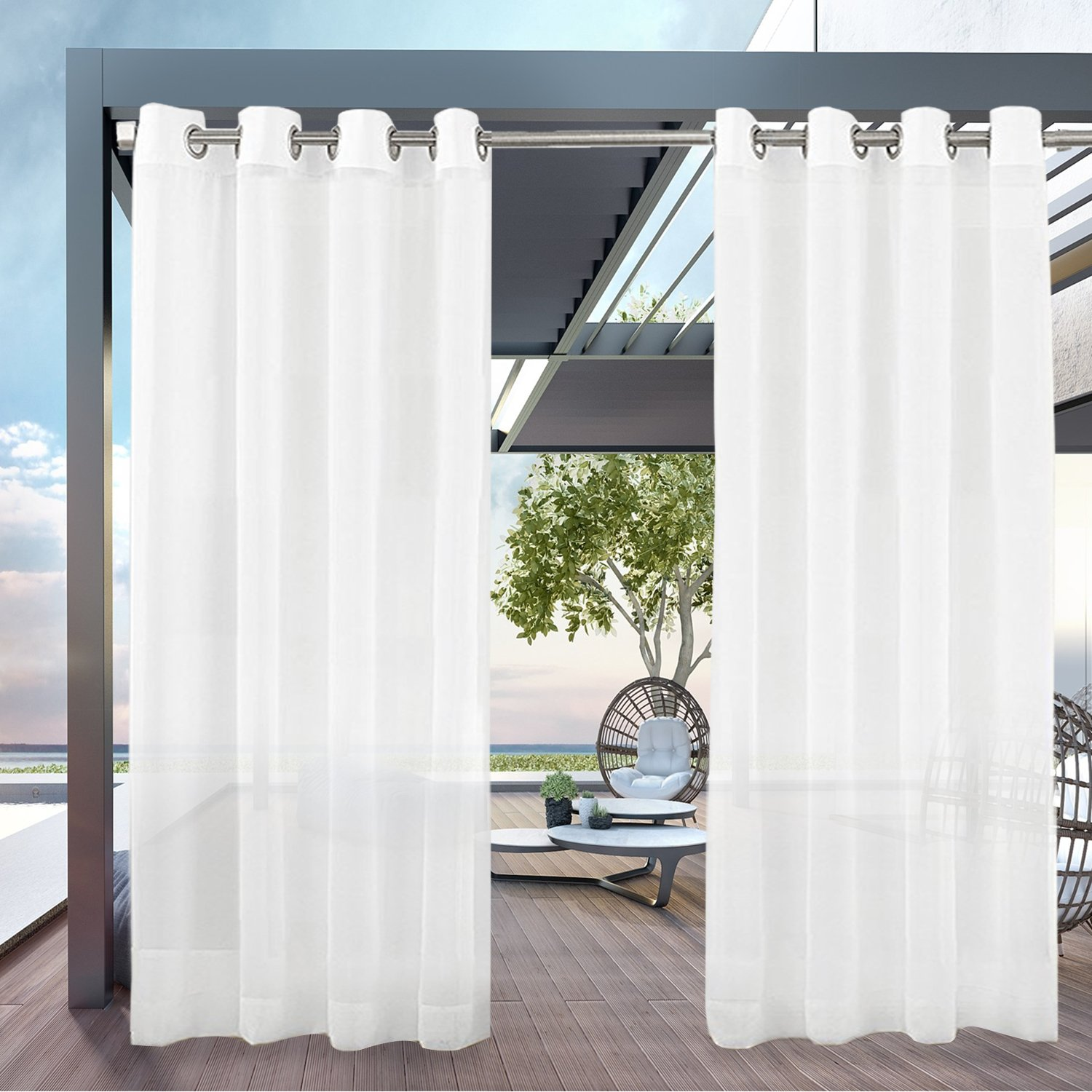 PRAVIVE Outdoor Sheer Curtain Panels - Elegant Water Repellent Grommet Indoor/Outdoor Drapes/Pergola Shades/Gazebo Blinds for Patio Privacy, 54'' W X 96'' L, White, Set of 1