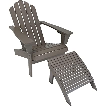 Exceptionnel Sunnydaze Wooden Outdoor Adirondack Chair And Ottoman Footrest Set, Gray