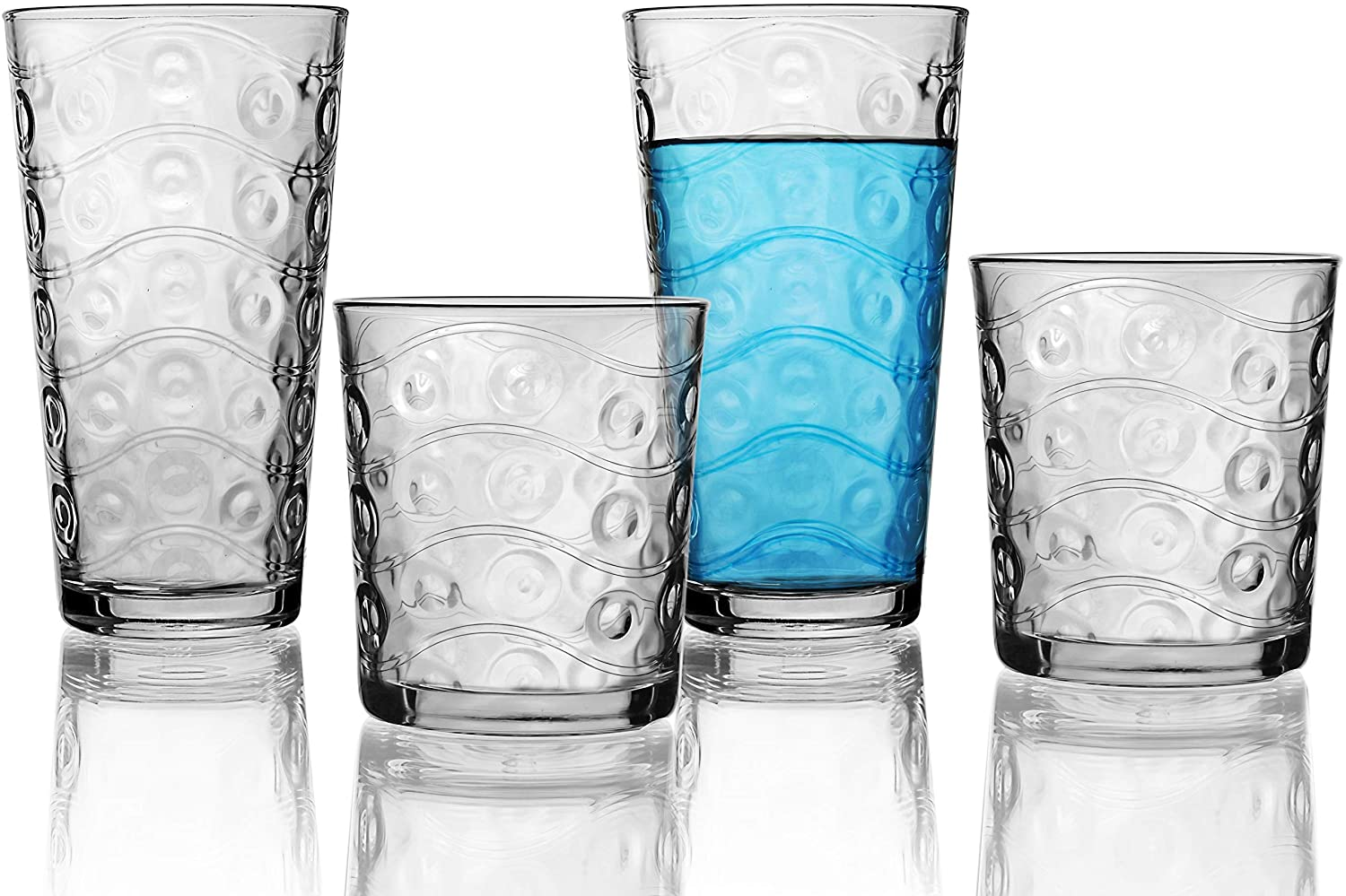 Circleware Parade Huge Set of 16, 8-17oz Drinking Glasses & 8-13oz Double Old Fashioned Whiskey Glass, Kitchen Glassware for Water, Beer, Juice, Ice Tea, Wine and Best Bar Barrel Liquor Beverage Gifts