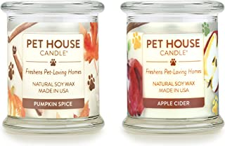 product image for One Fur All 100% Natural Soy Wax Candle, 20 Fragrances - Pet Odor Eliminator, Up to 60 Hours Burn Time, Non-Toxic, Eco-Friendly (Pack of 2, Pumpkin Spice/Apple Cider)