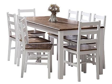 Mobili maxi solido tavolo e sedie legno pino scuro bianco
