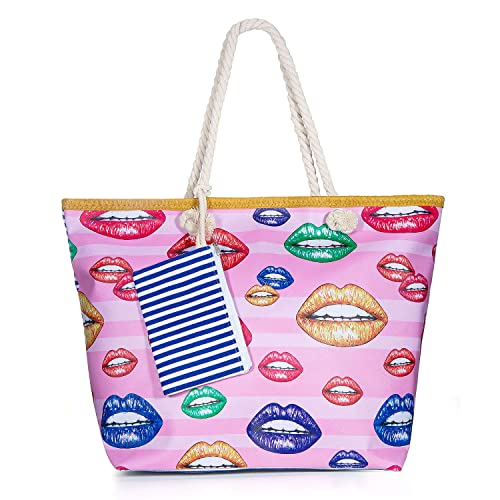 Vordas Welecoco Bolsa de Playa Bolsa Playa Grande Mujer, Bolsa Playa Grande con Cremallera XXL (Tamaño Perfecto 55 x 39 x 16.5 cm), Ideal para la ...