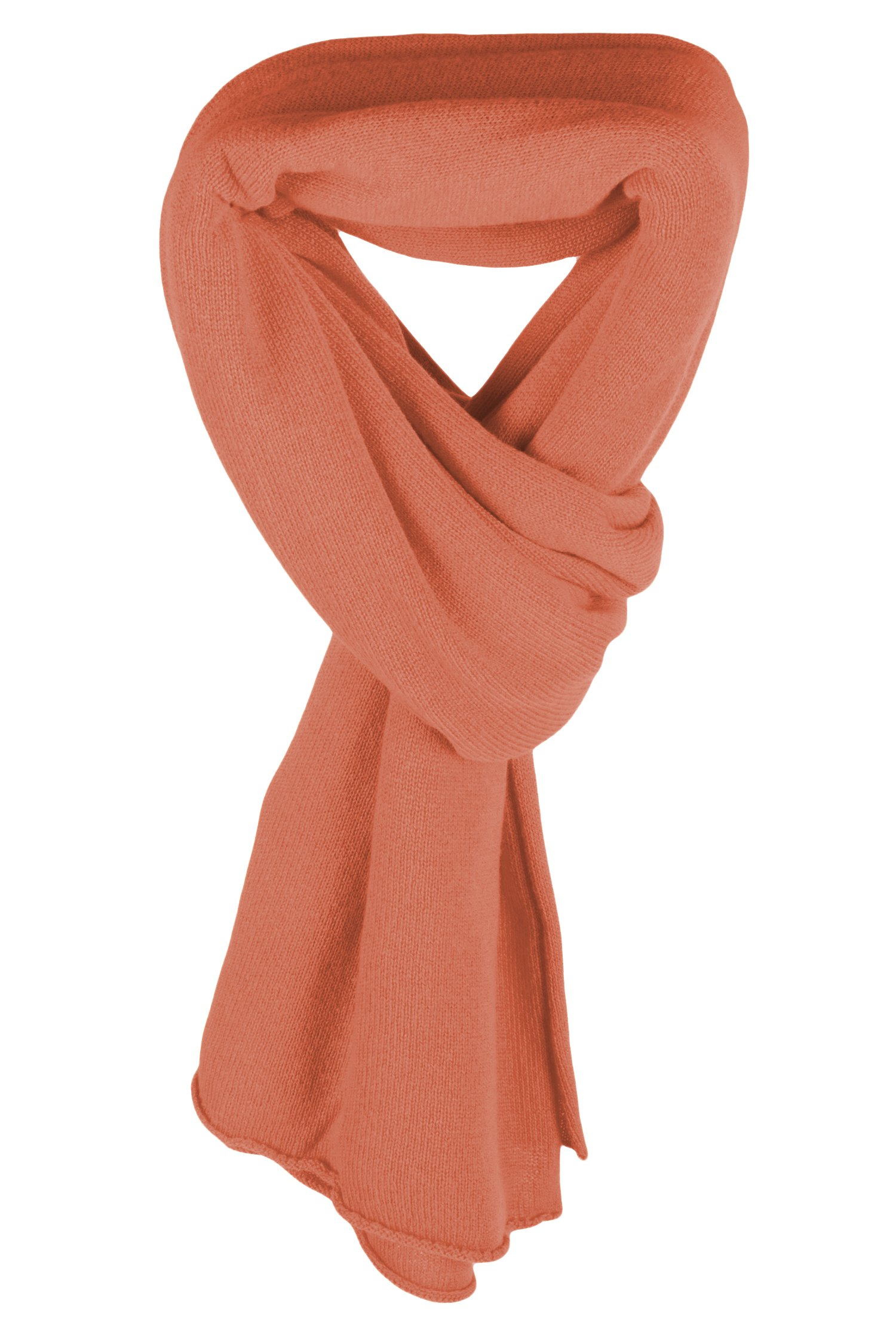 Ladies Ultrafine 100% Cashmere Scarf Wrap - Peach Orange - made in Scotland by Love Cashmere RRP $400