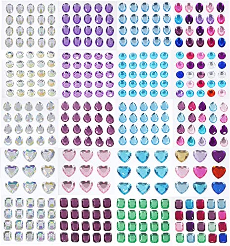 Phogary 870pcs 12 Sheets Self-Adhesive Rhinestone Sticker Multicolor Bling Craft Jewels Crystal Gem Stickers Assorted Size and Shapes