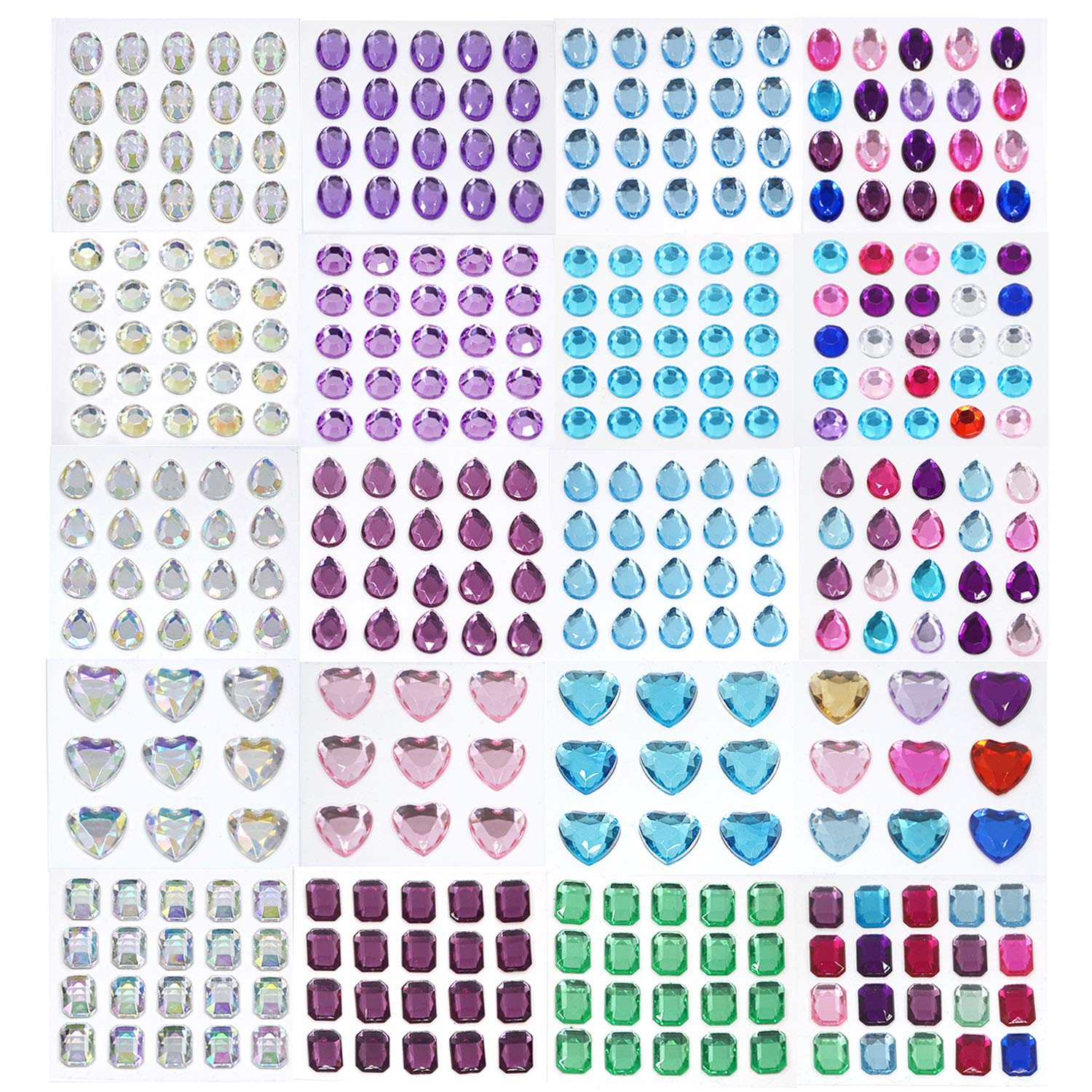 Rhinestone Sticker,self Adhesive Jewels Craft Jewels Crystal Gem Stickers Assorted Size