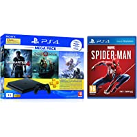 Sony PS4 1 TB Slim Console (Free Games: God of War/Uncharted 4/Horizon Zero Dawn) + Marvel's Spider Man (PS4)