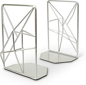 Opal Tree Bookends - Geometric Modern Industrial - Decorative Iron Book Stoppers - Abstract/Home/Office/Rustic Creative Shelf Decor (Silver)