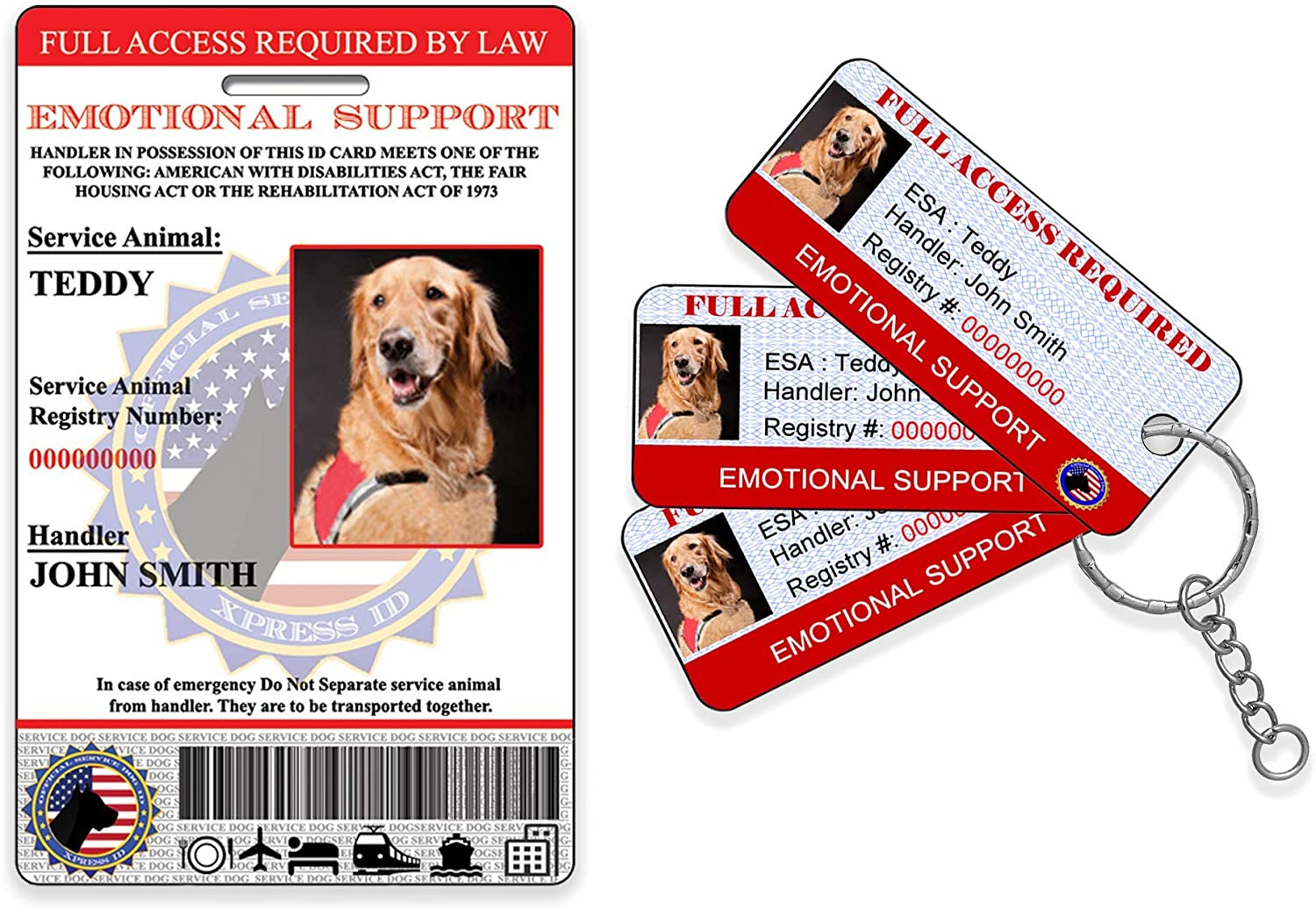 Custom Holographic Emotional Support Animal ID Card and 3 KeyTags | Registration to Service Animal Registry Included - QR Code Ready