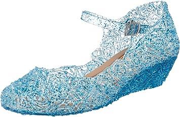 Katara- Zapatos con Cuña Disfraz Princesa Elsa Frozen Niña, Color ...