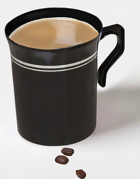 amazon com 40 8 oz plastic coffee cups teacup black with silver rim